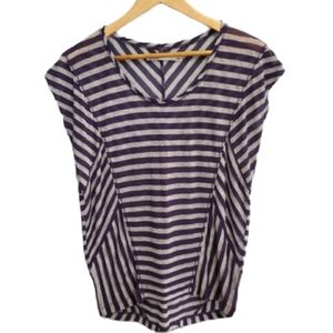 MADEWELL HI-LINE STRIPED TEE NAVY GRAY SIZE SMALL